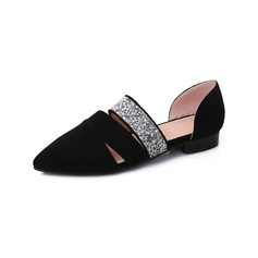 Women's Leatherette Flat Heel Flats Closed Toe With Rhinestone shoes (086094923)