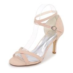 Женщины Замша Высокий тонкий каблук На каблуках Сандалии с Другие (047111554)