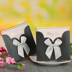 Bride & Groom Style Wrap & Pocket Invitation Cards With Bows (Set of 12) (114054747)