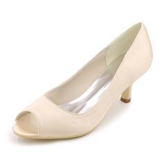 Женщины шелка как атласное Высокий тонкий каблук Открытый мыс На каблуках с Другие (047111543)