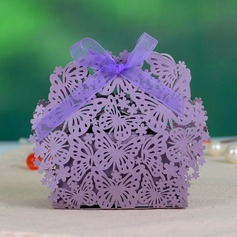 Butterfly Theme Pearl Paper Favor Boxes With Ribbons (Set of 12) (050046727)