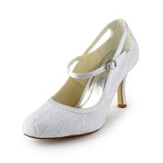 Women's Lace Satin Stiletto Heel Closed Toe Pumps (047024513)