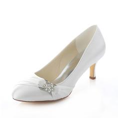 Женщины Атлас Высокий тонкий каблук Закрытый мыс На каблуках с горный хрусталь (047087123)