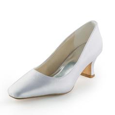 Women's Satin Spool Heel Closed Toe Pumps (047005395)