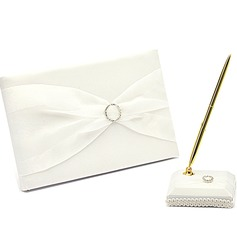 Simple Rhinestones/Bow Guestbook & Pen Set (101018185)
