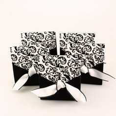 Ivory And Black Flourish Card Paper Favor Boxes & Containers With Ribbons (Set of 12) (050005921)