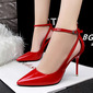 Women's Patent Leather Stiletto Heel Closed Toe Pumps Sandals MaryJane With Buckle (047142524)
